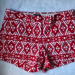 J Crew Red Tribal City Fit Shorts